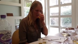 Karen checking the aromas