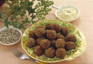 Falafel, Deep fried chick pea balls on bed of lettuce
