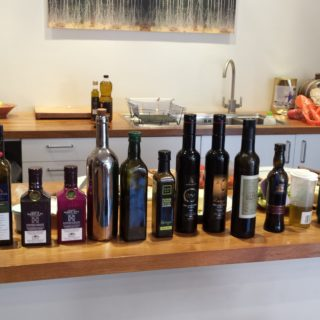 A line up of oils fr the tasting
